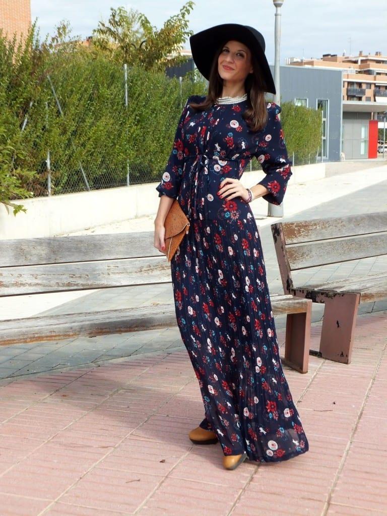 vestido largo de flores hippie