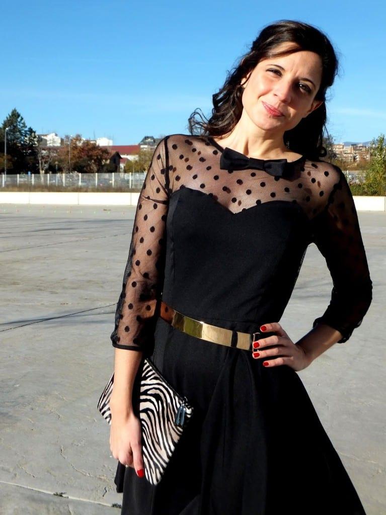 outfit vestido negro noche minueto