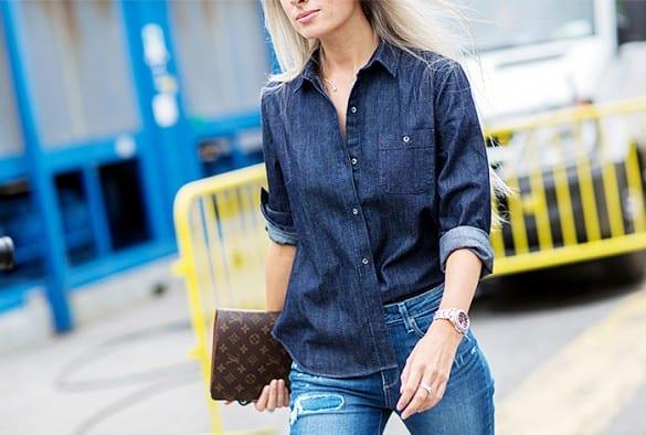 Como combinar camisa vaquera oscura mujer