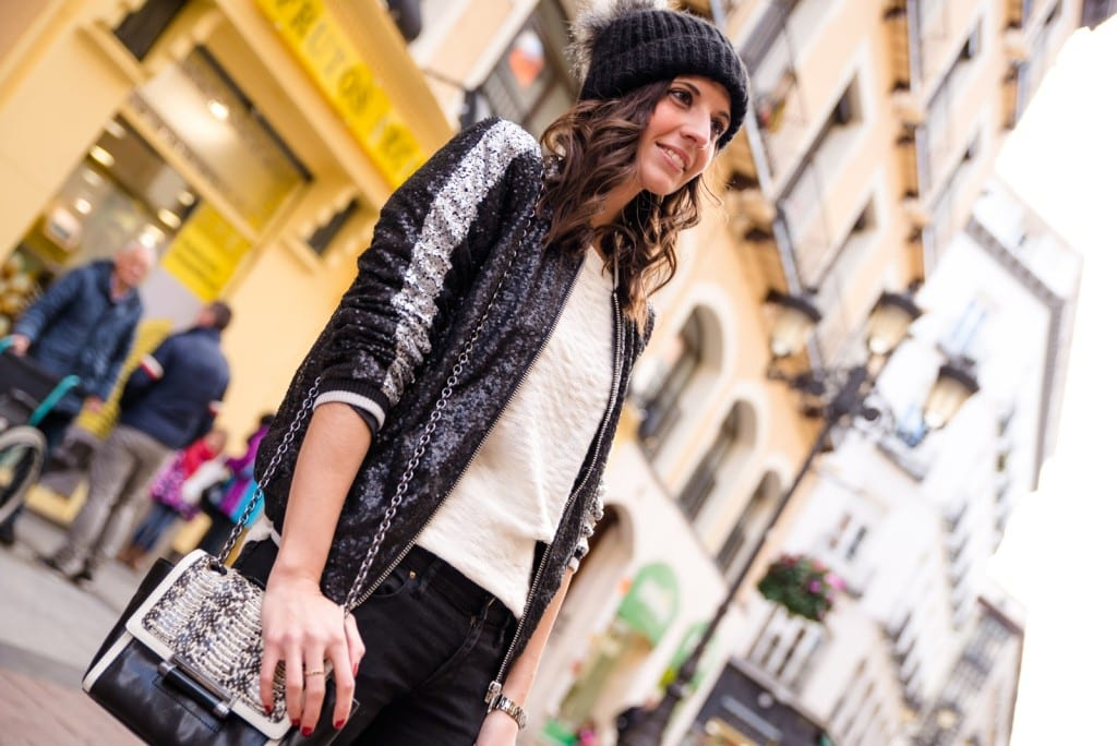 bubble hat and sequins jacket